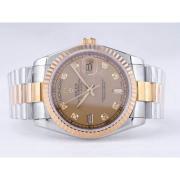 Replique Rolex Day-Date eta suisse 2836 diamants mouvement de marquage et de la lunette avec cadran noir 9863