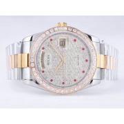 Replique Rolex Day-Date eta suisse 2836 diamants mouvement de marquage et de la lunette avec cadran noir ordinateur 9855