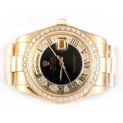 Replique Rolex Day-Date eta suisse 2836 avec cadran noir mouvement du bâton de marquage 10348