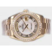Replique Rolex Day-Date eta suisse 2836 avec cadran argenté mouvement du bâton de marquage 10352