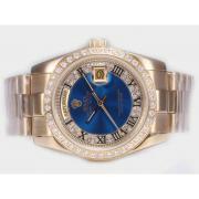 Replique Rolex Day-Date Swiss ETA 2836 Mouvement de lumière cadran bleu nombre d'onde de marquage 10345