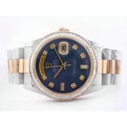 Replique Rolex Daytona diamants lunette automatique chronographe avec cadran bleu et le modèle dame sangle 16699