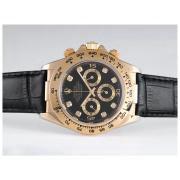 Replique Rolex Daytona travail chronographe or blanc arabe cadran chiffres cas avec lunette sertie de diamants - bracelet brun 9616