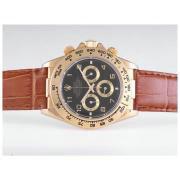Replique Rolex Daytona travail d'or cas chronographe avec cadran noir autocollant marquage lunette sertie de diamants 9619