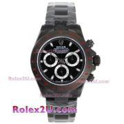 Replique Rolex Daytona travail lunette sertie de diamants chronographe et marqueurs diamant noir au bleu vadrouille bracelet de cuir noir-ligne 1039