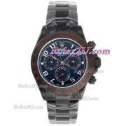 Replique Rolex Daytona travail lunette sertie de diamants chronographe et marqueurs diamant bleu de bleu vadrouille bracelet de cuir bleu-ligne 1031
