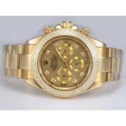 Replique Rolex Daytona Valjoux 7750 chronographe asie mouvement avec deux boîtier ton-marquage des diamants 12939