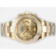 Replique Rolex Daytona chronographe en or diamant automatique de cas de marquage et de la lunette avec cadran blanc 12947
