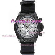 Replique Rolex Daytona chronographe automatique complet pvd lunette nombre index diamants avec cadran noir 1047