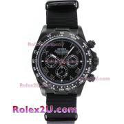 Replique Rolex Daytona chronographe automatique complet pvd lunette nombre index diamants cadran argenté 1048