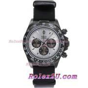 Replique Rolex Daytona chronographe automatique complet pvd lunette romaine index diamants avec cadran gris 1041