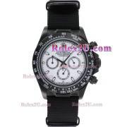 Replique Rolex Daytona chronographe automatique complet pvd lunette romaine index diamants avec cadran noir 1052