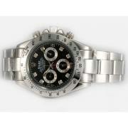 Replique Rolex Daytona chronographe baguette de diamants lunette cz automatique avec cadran gris-romaine de marquage 13520
