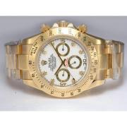 Replique Rolex Daytona chronographe automatique à deux tons lunette sertie de diamants avec cadran gris 13662