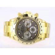 Replique Rolex Daytona travail chronographe à deux tons avec cadran noir 13655