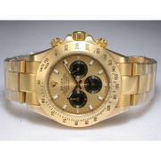 Replique Rolex Daytona chronographe automatique à deux diamants ton marquage avec cadran blanc 13664