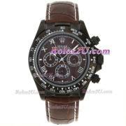 Replique Rolex Daytona chronographe automatique en or cz cas lunette index diamants diamants avec cadran noir 1715