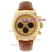 Replique Rolex Daytona chronographe automatique en or cz cas lunette marqueurs en bâton de diamants avec cadran noir 1717
