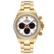 Replique Rolex Daytona travail lunette sertie de diamants chronographe et des marqueurs avec bracelet en cuir dial-léopard 18212