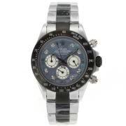 Replique Rolex Daytona travail chronographe PVD noir lunette nombre de cas index diamants avec bracelet en cuir bleu-ligne de diamants 18776