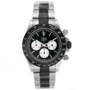 Replique Rolex Daytona travail chronographe PVD noir lunette nombre de cas index diamants avec bracelet en cuir noir avec ligne de diamants 18771