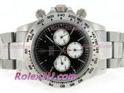 Replique Rolex Daytona chronographe travailler avec cadran noir et bracelet 3635