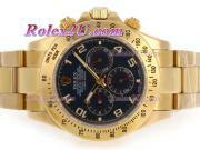 Replique Rolex Daytona chronographe automatique pvd lunette sertie de diamants pleine avec des marqueurs de dial-bâton noir 3941