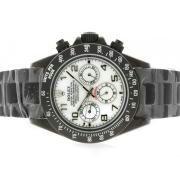 Replique Rolex Daytona travail chronographe pvd lunette sertie de diamants avec cadran blanc intégral numéro de marquage 4041