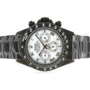 Replique Rolex Daytona de travail index diamants chronographe avec du bleu de la RdP-bracelet en cuir ligne 4794
