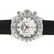 Replique Rolex Daytona travail marqueurs en bâton chronographe avec bracelet en cuir d'accès à distance d'argent 4798