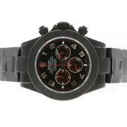 Replique Rolex Daytona chronographe travailler avec cadran noir et du bâton marqueurs lunette 4803