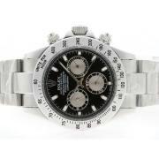 Replique Rolex Daytona chronographe de travail avec des marqueurs de dial-bâton noir 4805