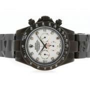 Replique Rolex Daytona chronographe automatique de cas de diamants marqueurs d'or avec bracelet en cuir noir d'accès à distance 4822