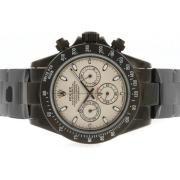 Replique Rolex Daytona travail chronographe en or diamant cz lunette complète avec des marqueurs de composer le numéro-bleu 4812