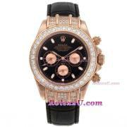 Replique Rolex Daytona travailler avec chronographe rouge dial-s / s avec la courroie pvd 211