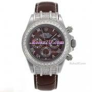 Replique Rolex Daytona travail marqueurs en bâton chronographe avec cadran blanc-s / s avec la courroie pvd 220