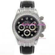 Replique Rolex Daytona travail chronographe bâton marqueurs avec cadran en granit-s / s avec la courroie pvd 229