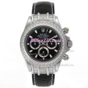Replique Rolex Daytona travail marqueurs nombre chronographe avec cadran argenté-s / s avec la courroie pvd 221