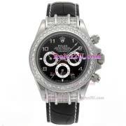 Replique Rolex Daytona travail marqueurs en bâton chronographe avec cadran noir-s / s avec la courroie pvd 232