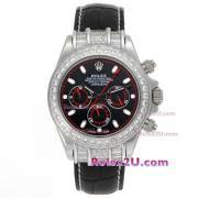 Replique Rolex Daytona travail marqueurs nombre chronographe avec cadran blanc-s / s avec la courroie pvd 233