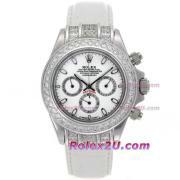 Replique Rolex Daytona travail marqueurs en bâton chronographe avec cadran blanc-s / s avec la courroie pvd 236