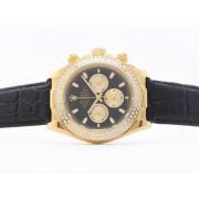 Replique Rolex Daytona travail chronographe deux diamants lunette cz ton avec cadran or-adhésive de marquage 6943