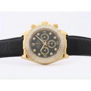 Replique Rolex Daytona travail de diamants lunette cz chronographe avec cadran blanc-marquage des diamants 7040