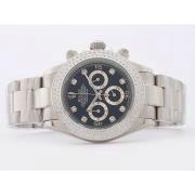 Replique Rolex Daytona travail chronographe en or diamant cz complète avec lunette cadran noir-marquage des diamants 7041