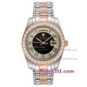 Replique Rolex Masterpiece automatique à deux tons avec marquage cadran blanc diamant 16231