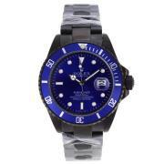 Replique Rolex Submariner automatique pvd complète avec cadran bleu et lunette 17603
