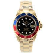 Replique Rolex Submariner automatique d'or plein bleu / rouge lunette avec cadran noir 8905