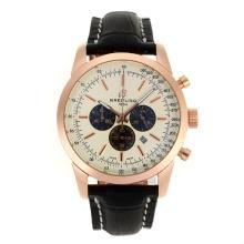 Replique Breitling Aeromarine-Chronographe Rose Marqueurs d'or de bâton de cas avec cadran blanc-bracelet en cuir 26377