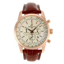 Replique Breitling Aeromarine-Chronographe Rose Marqueurs d'or de bâton de cas avec cadran blanc-bracelet en cuir 26376