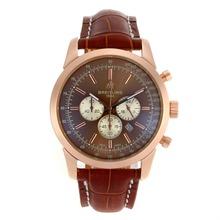 Replique Breitling Aeromarine-Chronographe Rose Marqueurs cas du bâton de l'or avec cadran brun-bracelet en cuir 26375